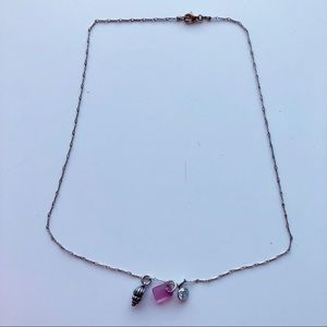 Necklace w/ Pink Glass, Silver Shell & Prism Bead